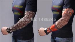 New 4Pcs nylon stretchy temporary tattoo sleeves Long Arm Sleeves Kit Punk Fake Crown Tattoos Sleeve Arm Stockings Free Shipping
