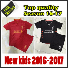 Wholesale New arrived black Liverpooles kids Best quality children Kids Soccer shirts Home red Custom child