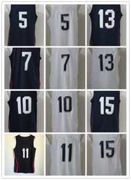 Wholesale 2016 Dream Team Basketball Jersey White Blue Best Quality Stiched Name and Number Embroidery All Logos