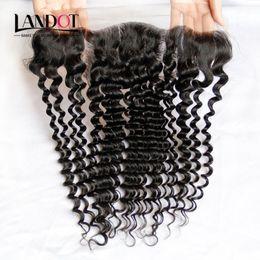 Ear To Ear Brazilian Curly Lace Frontal Closure Malaysian Indian Peruvian Cambodian Mongolian Deep Curly Virgin Human Hair Frontal Closures