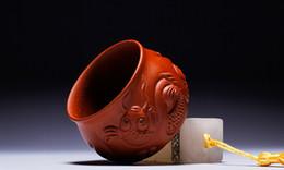 Buena pesca en venta-YiXing taza hermosa taza de té púrpura de arena con el dragón y el pez alto artista producto bueno para jugar la tetera