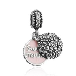 DIY beads Exquisite Jewelry alloy Rhinestone sweet mother charm pendant fit for pandora snake chain bracelets Threaded Beads DIY jewelry