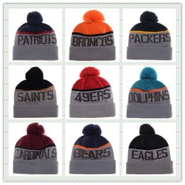 Wholesale Hot Sale American Football Team On Field Sport Knit Hat Grey Pom Pom Sports Knitted Beanies Men Women Cotton Winter Hats Mix Order