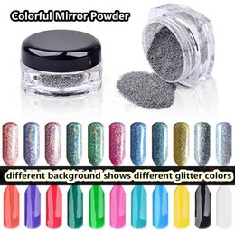 Wholesale 2g Holographic nail art Mirror Powder Colorful Symphony Laser Powder Nail Glitter Rainbow Pigment Manicure Chrome Pigments
