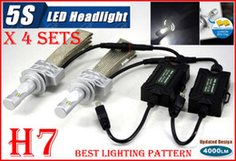 Wholesale Fast Sets H7 W LM S th LED Headlight System Kit LUMILED LUXEON ZES CHIPS SMD Fanless Aluminum Belt Driving Lamp Bulb Single Beam