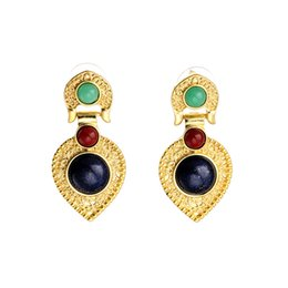 Wholesale Fashion Jewelry Earrings Gold Plated Earrings For Women Bohemian Earrings With Stones Brinco Boucle D oreille Femme Pendante