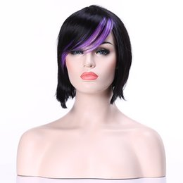 Shipping in 24 Hours Fashion Stylish Straight Black &Purple Woman Synthetic wigs Top Quality Party Wig