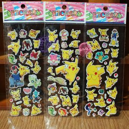 Wholesale Fashion Children Cartoon Poke Pikachu D Stickers UV Wallpaper Nursery Children Kids Room Bedroom Wall cm