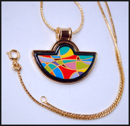Enjoy Life Series 18K gold-plated enamel necklaces for woman Fan Pendant Necklace colar women necklace