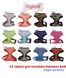 Cinturones de cuero en Línea-10pcs 12 estilos mascota cinturón de arnés de tracción, suelas de cuero negras marcadas con el arnés del perro transpirable, multicolor puede elegir el envío gratuito