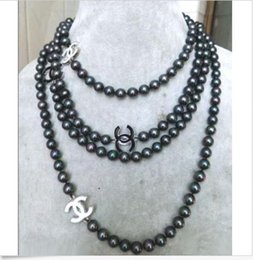 Wholesale new Hot mm south sea black pearl necklace K Gold Clasp