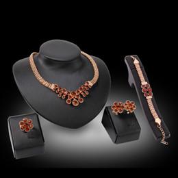Ring Necklace Earrings Bracelet Jewelry Set Elegant Fashion Rhinestone 18K Gold Plated Flowers Alloy Wedding Jewelry 4-Piece Set JS180