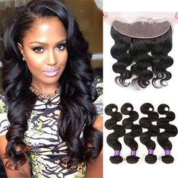 Body Wave Wavy Human Hair Weaves With 13x4 Lace Frontal 4Pcs Lot Ear To Ear Lace Frontal With Hair Weaves For Black Woman
