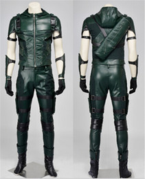 Wholesale Superhero Green Arrow season Cosplay Costumes Oliver Queen green arrow leather costume Halloween Uniform for adult men Custom made