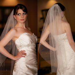 Wholesale Soft White Wedding Veils - Shining Small Crystals Beaded Wedding Veils Bridal Veils One Layer Fingertip Length Ivory Soft Tulle Net Comb Wedding Bridal Veils Cheap