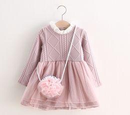 Wholesale Crochet Christmas Bag - 2016 Autumn Winter Kids Long Sleeve Dress Girls Crochet Dress with Bag Childrens Pretty Princess Dress K8075