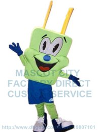 Wholesale green plug man mascot costume adult size cartoon plug contact connector pin theme advertising costumes carnival fancy dress