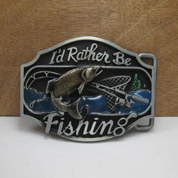 BuckleHome Fashion enameled fishing belt buckle pewter finish FP-02471 free shipping