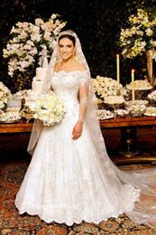 2019 Long Sleeve White Wedding Dresses Unique Princess Lace Off Shoulder A Line Bridal Party Gowns VESTIDOS DE NOIVA