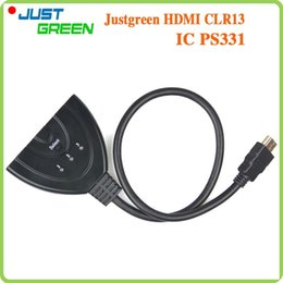 Wholesale 3 Ports P D PS331 IC HDMI AUTO Switch Switcher Splitter Hub with Cable for HDTV DVD etc