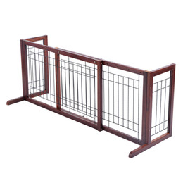 Wholesale Wood Dog Gate Adjustable Indoor Solid Construction Pet Fence Playpen Free Stand