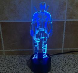 Wholesale 3D Visual LED Night Lights Cartoon Images Wade Winston Wilsonl ABS Base and Acrylic Lighting Panel USB Power Supply