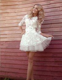 Spring Short Wedding Dresses Half Sleeve Jewel Neck Lace A Line Mini Romantic Lovely Bridal Gowns Custom Made