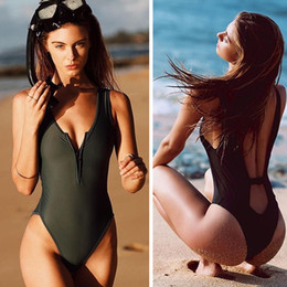 2016 Summer styles Triangle jumpsuit backless zipper push up sexy bikinis set women swimwear conjoined swimsuit bathing suit 2055