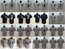 Wholesale Elite Baseball Derek Jeter Jersey Babe Ruth Mickey Mantle Lou Gehrig Mariano Rivera Alex Rodriguez Team Color White Gray Blue