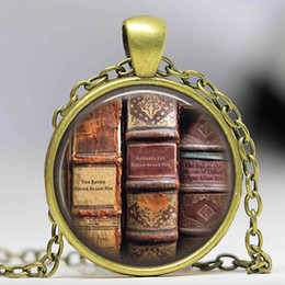 Wholesale Book Logo Pendant Necklace Edgar Allan Poe Literary Poem Literature Vintage Neckalcee Women Jewelry Friendship Gifts