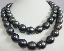 Wholesale Liang Li 12-13 mm tahitian peacock green baroque pearl necklace 38 inch 14k gold clasp