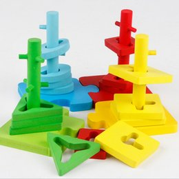 four sets of removeable column game topping-on game Educational wooden toy 4 pillar matching color shape wood block Geometric Stacking Shape