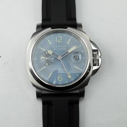 Wholesale EMS MARINA MILITARE mm Blue Dial Luminous Hands GMT SeaGull Automatic Watch Black rubber Strap High Quality