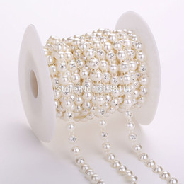10yards 8mm Round Plastic Flat Back Ivory String Pearl Rhinestones Rolls Chain DIY Jewelry Clothes Material Wedding Decoration