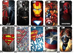 Wholesale Marvel Avengers Spider man Dark Knight Hard Case Batman Superman Captain America PC Phone Cover for Iphone s plus plus