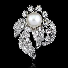 Hot! Wedding Faux Pearl Crystal Flower Brooch Pin Silver Plated Bridal Jewelry Gift