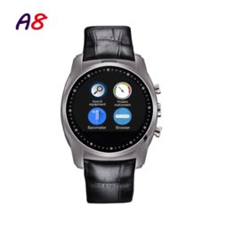 016 Fashion Smart Watch A8,Support SIM Card,Bluetooth Sim Watch, Round Dial,Alloy Material,Leather Strap,Smart Clock Vintage watch water...