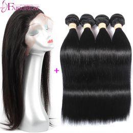 Wholesale New Style Lace Frontal closure Pc Straight Brazilian Human Hair Weaves Brazilian Virgin Hair Wefts x4x2 Lace Frontal Closure