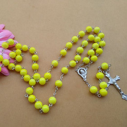 Hot Rosary Necklace Long Design Yellow Beads Glass Religious Necklace Women Jewelry Accessories Sweater Chain Wholesale