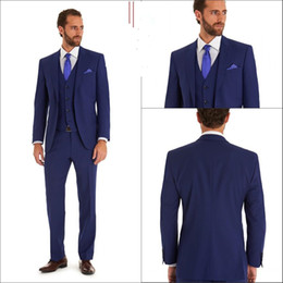 Blue Formal Wedding Groom Suits Include Vest and Tie Custom Made Best Man Tuxedos Fit Men's Formal Suit MENS SUITS