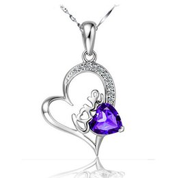 Heart-Shaped Crystal Pendant 2016 New 925 Silver Necklace I Love you Ms wild Fashion amethyst jewelry Heart-Shaped Crystal Pendant