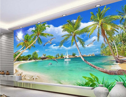 Wholesale 3d room wallpaer custom mural non woven photo Sea coconut trees decoration painting picture d wall murals wallpaper for walls d