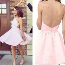 Wholesale Sexy Mini Dresses China - Cheap 2016 Baby Pink Stain Short Homecoming Dresses Sexy Halter Backless Cut Away Side Mini Party Gowns Custom Made China EN9025