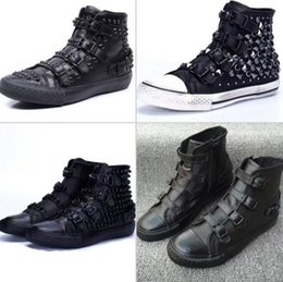 Wholesale Fashion ASH Vicious Studded Sneakers Black Women s ASH Trainers Casual Flat Heel Buckle High top Tide Shoes