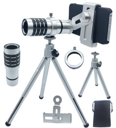 Wholesale-12X Zoom Telescope Tripod Objective Camera Telephoto Lens For Samsung Galaxy S3 S4 S5 ACTIVE MINI A7 For Nexus 5 6 7 For OnePlus