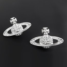 Wholesale 100 Brand New High Quality Fashion Picture lt lt Empress Dowager small silver diamond Saturn earrings classic earrings VE38010553