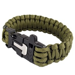Wholesale Survival Bracelet Whistle Buckles - 550LB Outdoor Paracord Survival Bracelets Flint Fire Starter Whistle Gear Buckle Camping Ignition Equipment Resure Rope Escape Bracelet Kits