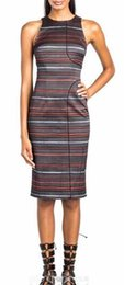Strip Print Women Sheath Dress Round Neck Sleeveless Dresses 030315