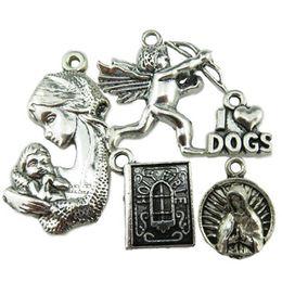 Wholesale 5PCS MIX I Love Dog Goddness Holy Bible Book Mother Baby Cupid s Arrow Pendant