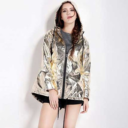 Street Punk-metal Style Loose Hooded Windbreaker Rose Gold Short Jacket Metallic Coats